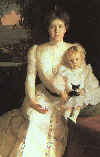 Mrs. Benjamin Thaw and her Son, Oil by Frank Weston Benson (1862-1951, United States)
