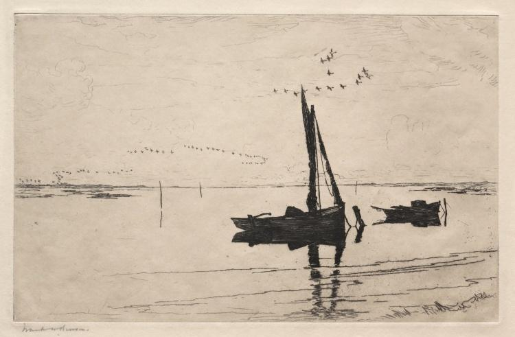 Off Pea Island, Etching by Frank Weston Benson (1862-1951, United States)