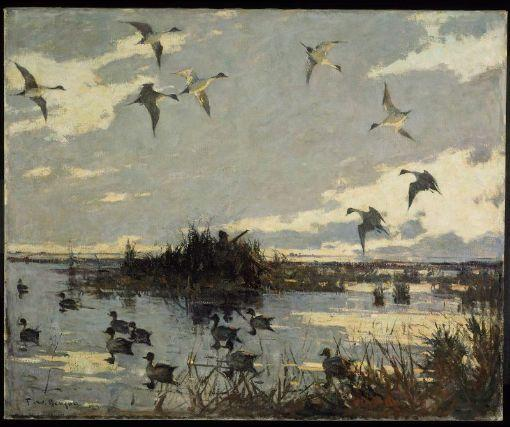 Pintails decoyed, Oil by Frank Weston Benson (1862-1951, United States)