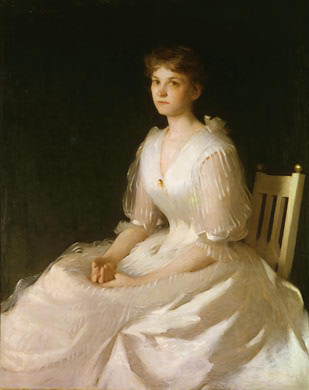 Portrait in White, Oil by Frank Weston Benson (1862-1951, United States)