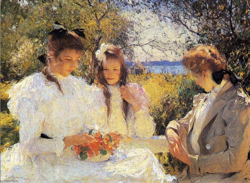 Portrait of My Daughters, Oil by Frank Weston Benson (1862-1951, United States)