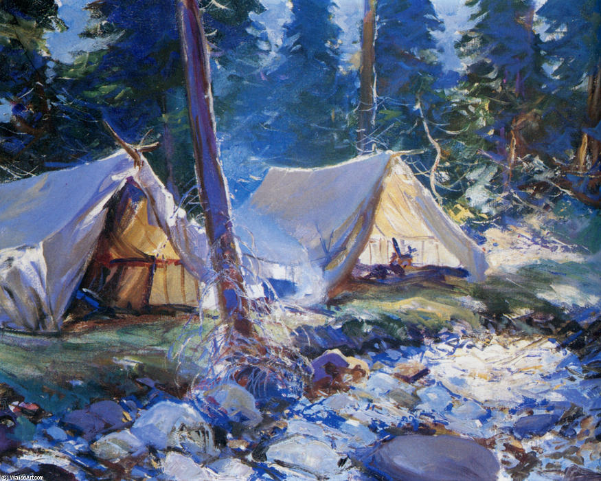 The Camp, Oil by Frank Weston Benson (1862-1951, United States)