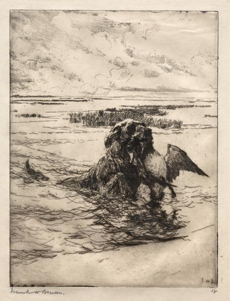 The Retriever, Etching by Frank Weston Benson (1862-1951, United States)