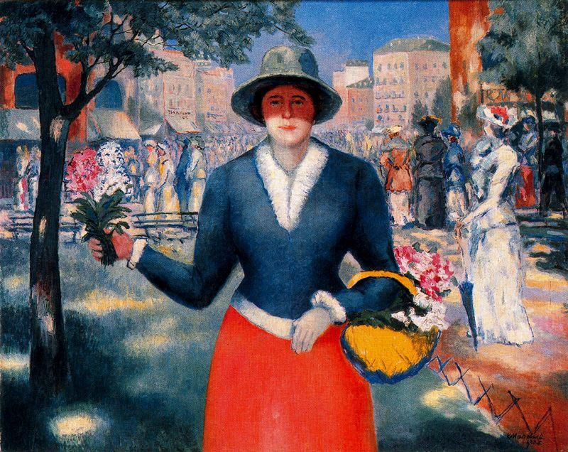 Flower Girl, Oil by Kazimir Severinovich Malevich (1878-1935, Ukraine)