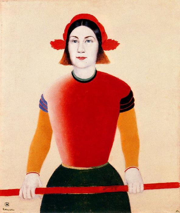Girl with a Red Staff, Oil by Kazimir Severinovich Malevich (1878-1935, Ukraine)