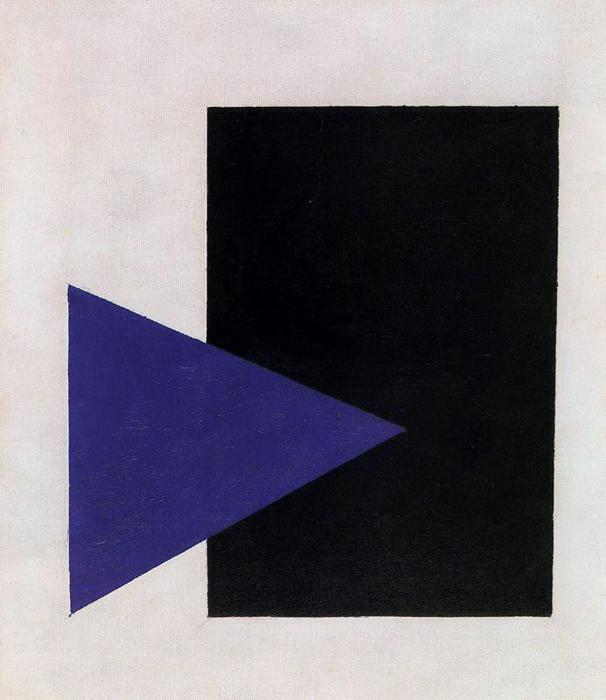 Supremtist Painting. Black Rectangle, Blue Triangle, Oil by Kazimir Severinovich Malevich (1878-1935, Ukraine)