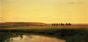 Thomas Worthington Whittredge - A Wagon Train On The Plains, Platte River