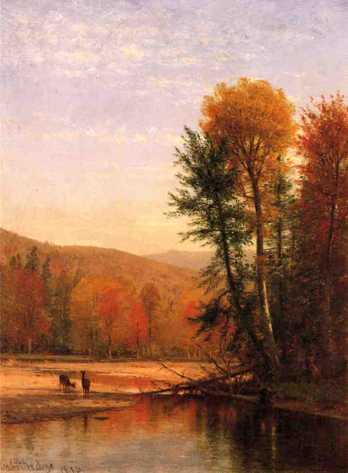 Deer in an Autumn Landscape, 1876 by Thomas Worthington Whittredge (1820-1910, United States) | Museum Art Reproductions Thomas Worthington Whittredge | ArtsDot.com