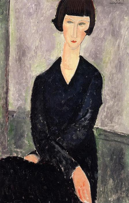Buy Museum Art Reproductions | The Black Dress, 1918 by Amedeo Modigliani (1884-1920, Italy) | ArtsDot.com