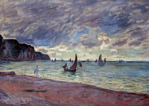 Claude Monet - Fishing Boats by the Beach and the Cliffs of Pourville