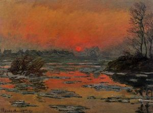 Claude Monet - Sunset on the Seine in Winter