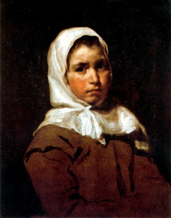 A young peasant girl, Oil by Diego Velazquez (1599-1660, Spain)
