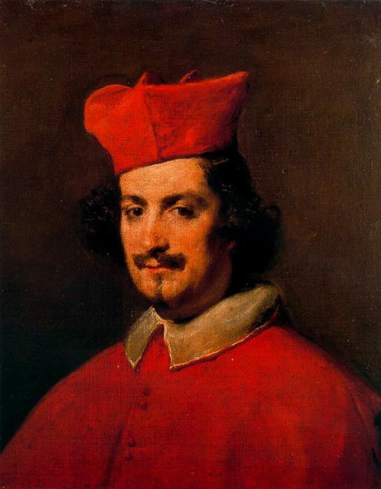 Cardinal Camillo Astalli Pamphli, Oil by Diego Velazquez (1599-1660, Spain)