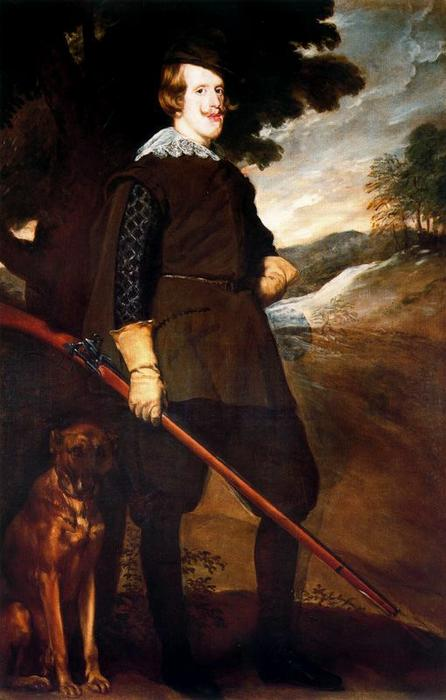 Felipe IV, cazador, Oil by Diego Velazquez (1599-1660, Spain)