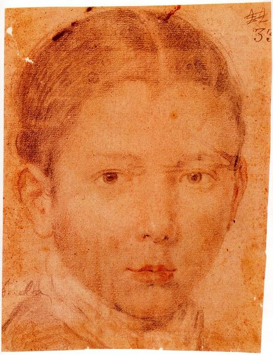 Head of a Young Boy, Drawing by Diego Velazquez (1599-1660, Spain)