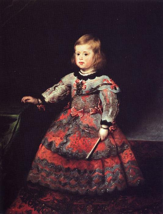 Infanta Margarita 2, Oil by Diego Velazquez (1599-1660, Spain)