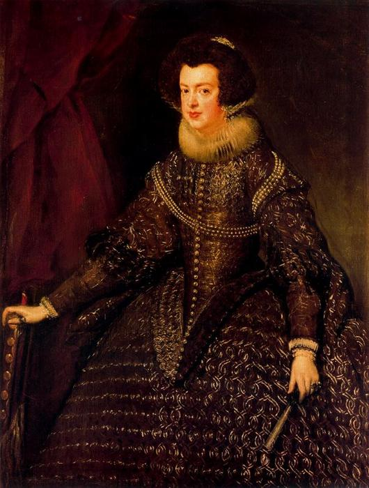 Isabel de Borbón, Oil by Diego Velazquez (1599-1660, Spain)