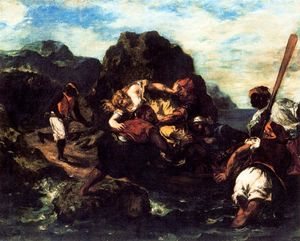 Eugène Delacroix - African Pirates Abducting a Young Woman