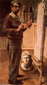 Giorgio De Chirico - Self-portrait in a studio from Paris