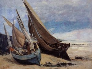 Gustave Courbet - Fishing Boats on the Deauville Beach