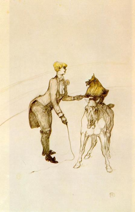 At the Circus The Animal Trainer, Pencil by Henri De Toulouse Lautrec (1864-1901, France)