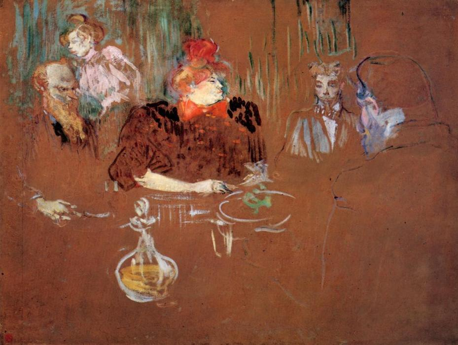 Dinner at the House of M. and Mme. Nathanson, Gouache by Henri De Toulouse Lautrec (1864-1901, France)
