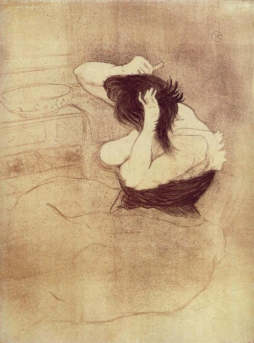 Elles. Woman Combing Her Hair, Oil by Henri De Toulouse Lautrec (1864-1901, France)