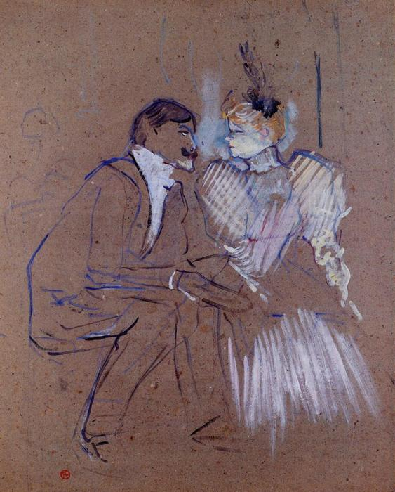 Lucien Guitry and Granne Granier, 1895 by Henri De Toulouse Lautrec (1864-1901, France)