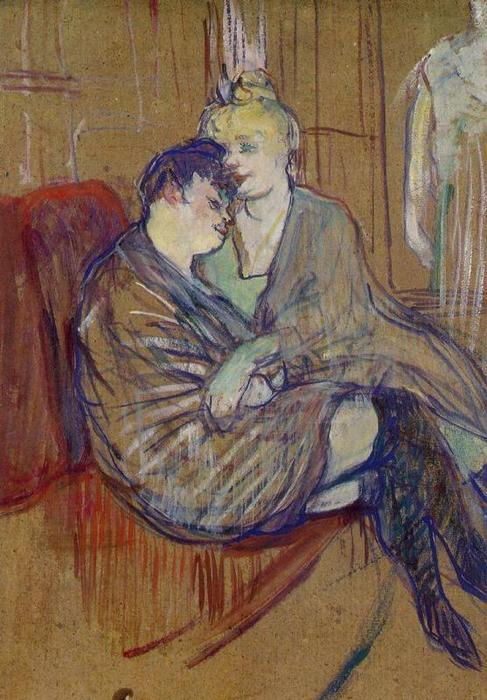 The Two Girlfriends 1, Oil by Henri De Toulouse Lautrec  (order Fine Art Framed Giclee Henri De Toulouse Lautrec)