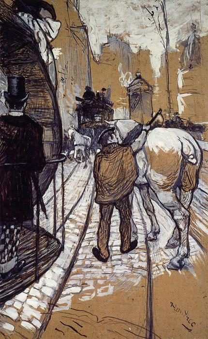 Workers for the Bus Company, Oil by Henri De Toulouse Lautrec (1864-1901, France)
