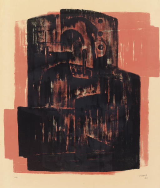 Black on Red Image, Oil by Henry Moore (1898-1986, United Kingdom)