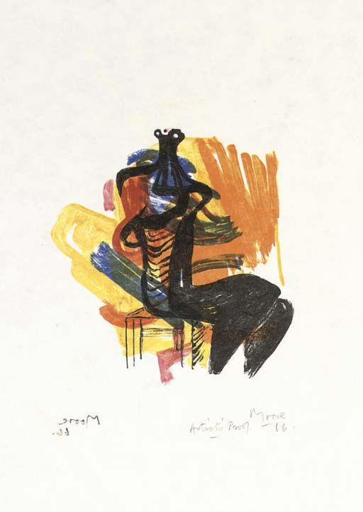 Black Seated Figure on Orange Ground, Drawing by Henry Moore (1898-1986, United Kingdom)