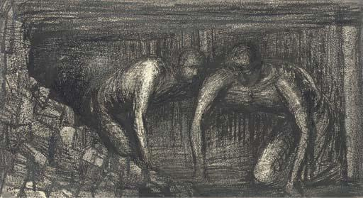 Coalminers, Oil by Henry Moore (1898-1986, United Kingdom)