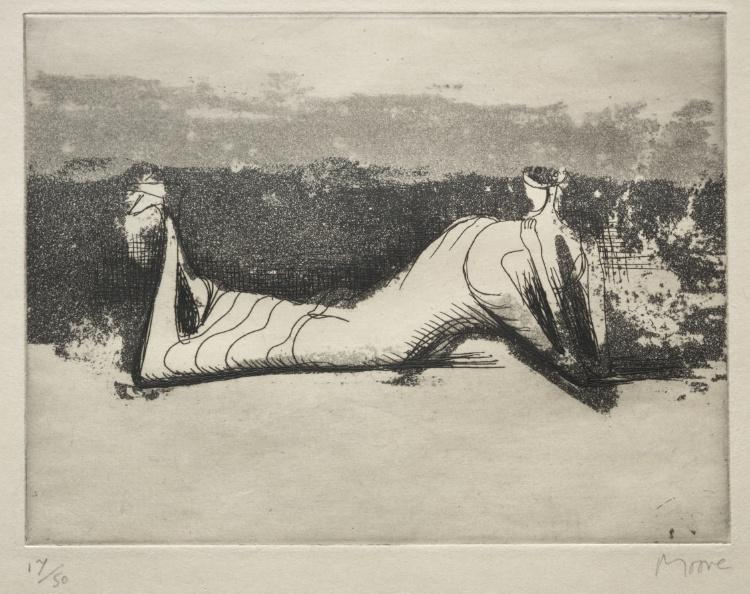 Draped Reclining Figure 1, Engraving by Henry Moore (1898-1986, United Kingdom)