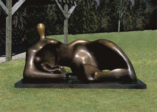 Draped Reclining Mother and Baby, Illustration by Henry Moore (1898-1986, United Kingdom)