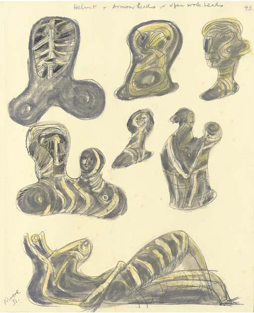 Drawing for Openwork Metal Sculpture, Oil by Henry Moore (1898-1986, United Kingdom)
