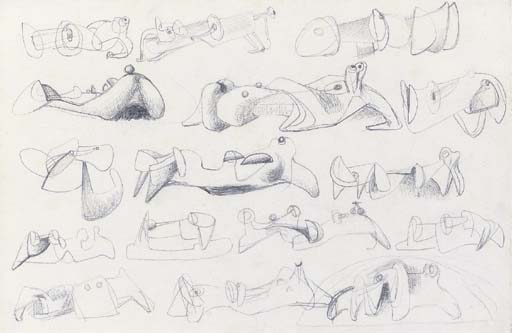 Drawing for Sculpture; Reclining figures by Henry Moore (1898-1986, United Kingdom) | Museum Quality Reproductions | ArtsDot.com