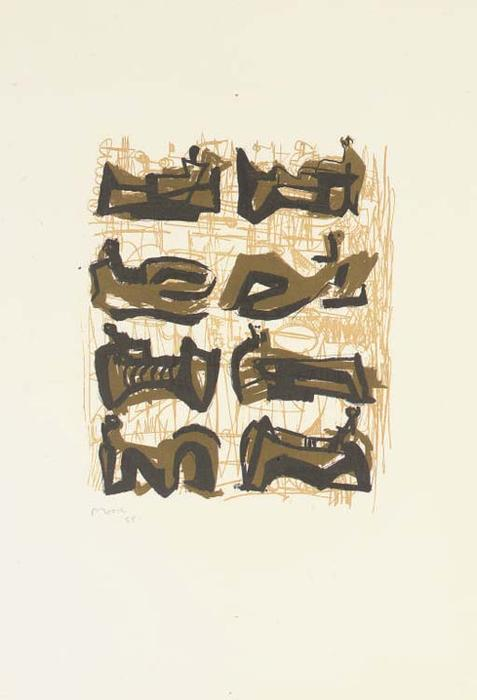 Eight Reclining Figures 1, Oil by Henry Moore (1898-1986, United Kingdom)