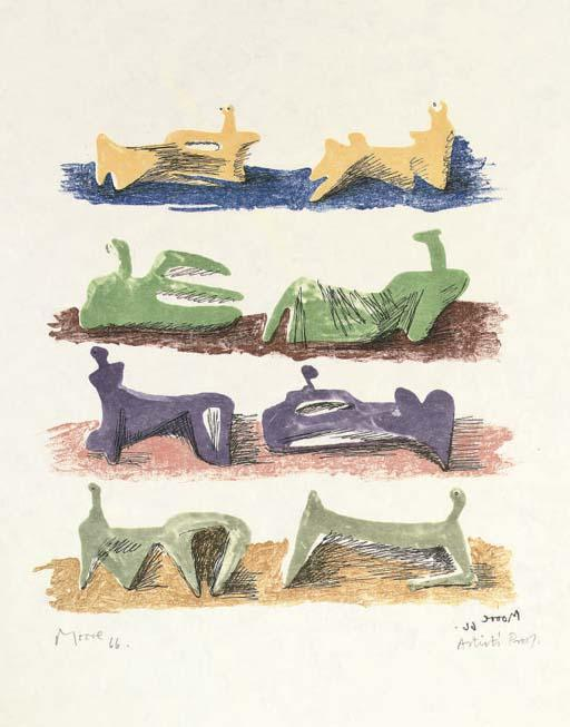 Eight Reclining Figures 2, Oil by Henry Moore (1898-1986, United Kingdom)