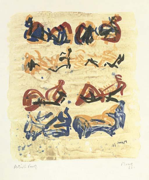 Eight Reclining Figures in Yellow Red and Blue, Oil by Henry Moore (1898-1986, United Kingdom)