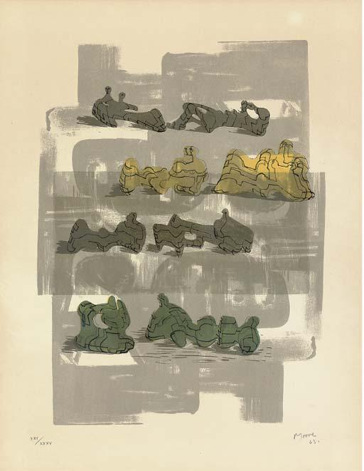 Eight reclining figures with architectural background, Engraving by Henry Moore (1898-1986, United Kingdom)