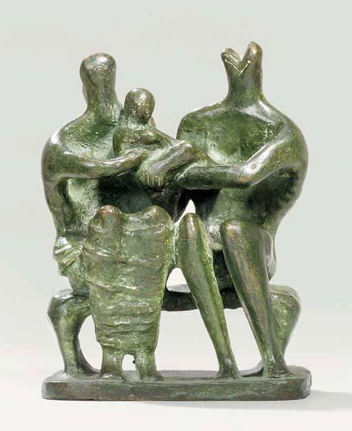 Family Group 3, Illustration by Henry Moore (1898-1986, United Kingdom)