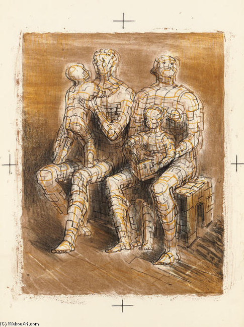 Family Group by Henry Moore (1898-1986, United Kingdom) | Painting Copy | ArtsDot.com