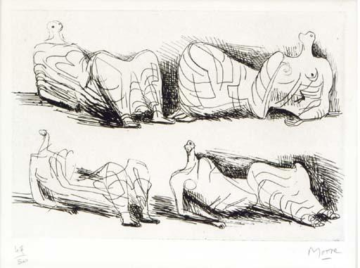 Four Draped Reclining Figures by Henry Moore (1898-1986, United Kingdom) | Museum Art Reproductions | ArtsDot.com