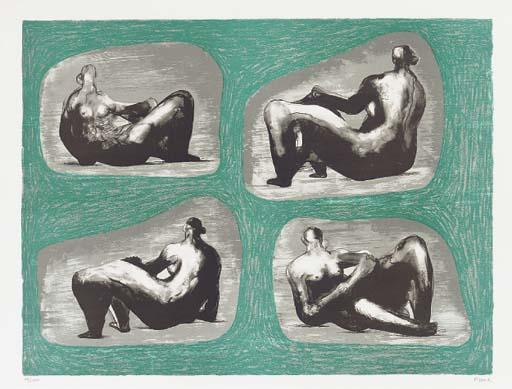 Four Reclining Figures - Caves, Oil by Henry Moore (1898-1986, United Kingdom)