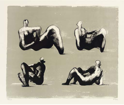 Four Reclining Figures, Oil by Henry Moore (1898-1986, United Kingdom)