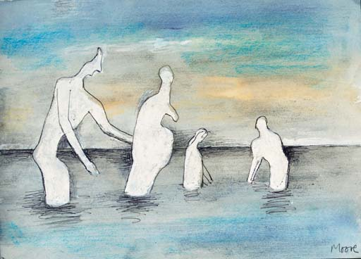 Four Sea-Bathers, Drawing by Henry Moore (1898-1986, United Kingdom)