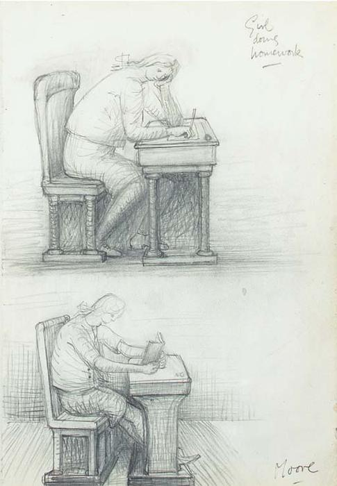 Girl Doing Homework, Drawing by Henry Moore (1898-1986, United Kingdom)