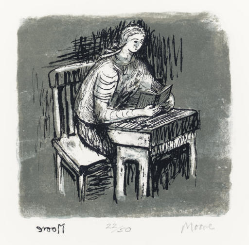 Girl Seated at Desk V; and Seated Figure, Oil by Henry Moore (1898-1986, United Kingdom)
