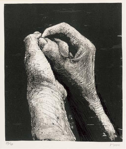 Hands II, Engraving by Henry Moore (1898-1986, United Kingdom)
